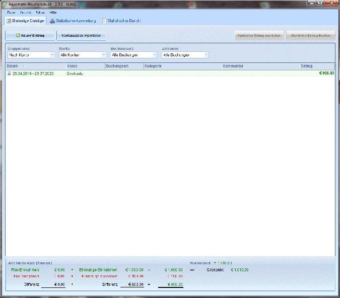 Screenshot des Startbildschirms von Aquamarin Haushaltsbuch